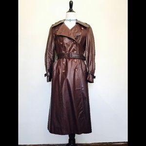 Vintage 1970s Brown Genuine Leather Trench Coat